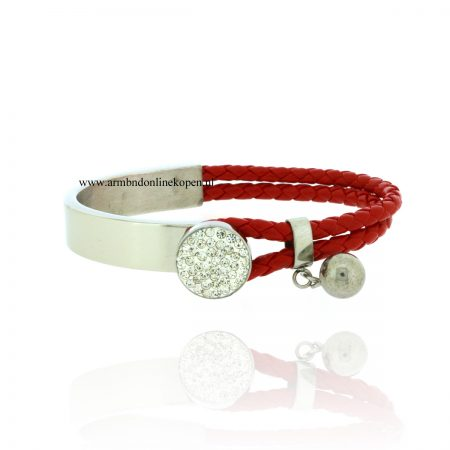 Knop Armband Rood zilver