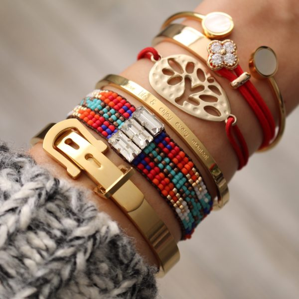 armband klavertje vier staal goud rood