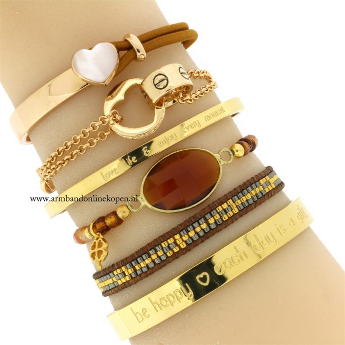 hippe love armbanden staal life quotes