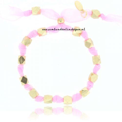 Geknoopte Kralen Armband roze