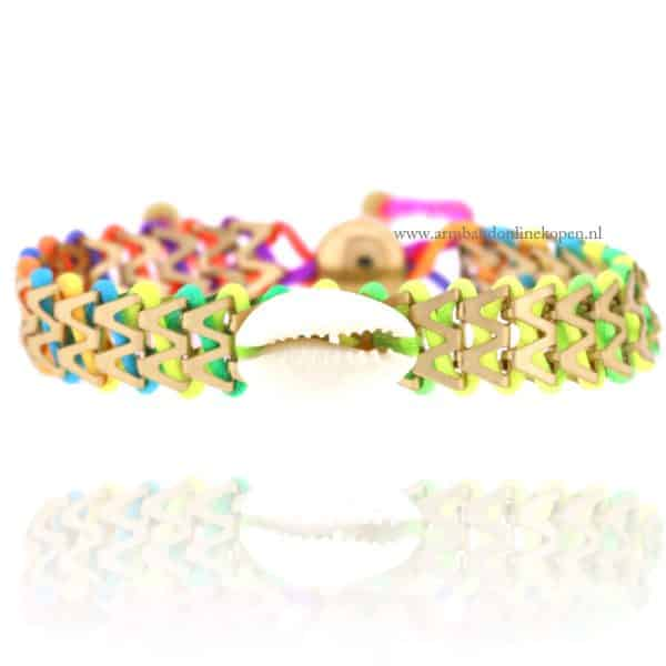 Ibiza Armbandje met Schelpje Regenboog