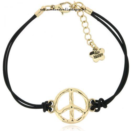 armband peace symbool zwart goud