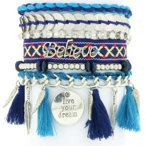 Ibiza Armbanden Live your Dream petrol blauw