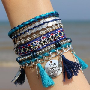 Ibiza Armbanden Live your Dream petrolblauw