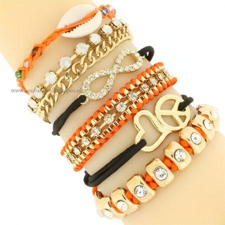 armbandjes set goedkoop kopen oranje zwart goud