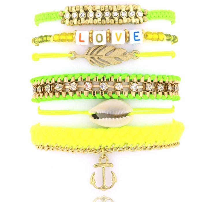 armbandjes set goud neon tinten