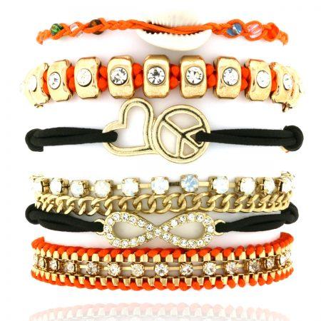 armbandjes set oranje zwart