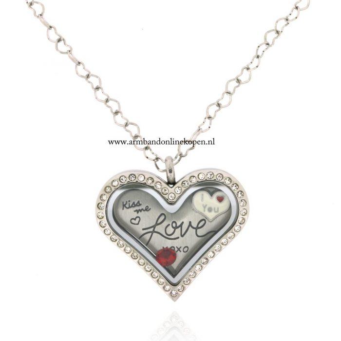 love munt hanger met ketting hart vorm valentijn cadeau