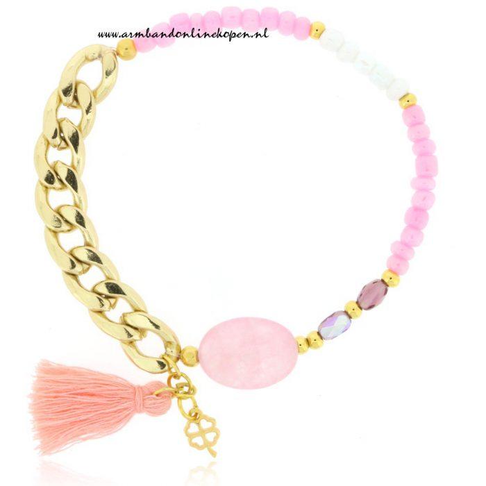 Rose Quartz Chain Bracelet