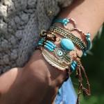 armband hamsa hand kraaltjes goud aquamarine