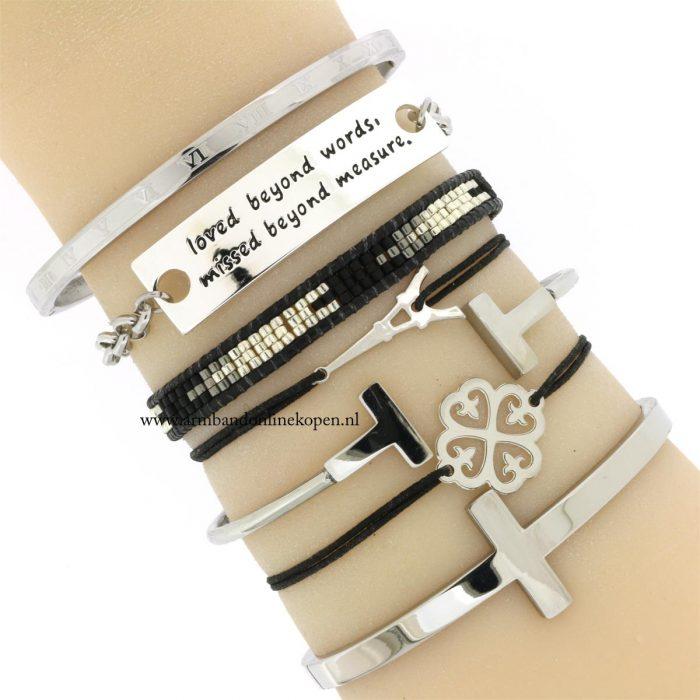 armband klavertje vier zilver zwart elastiek