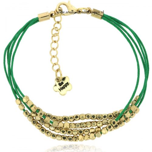 armbandje groen goud kraaltjes