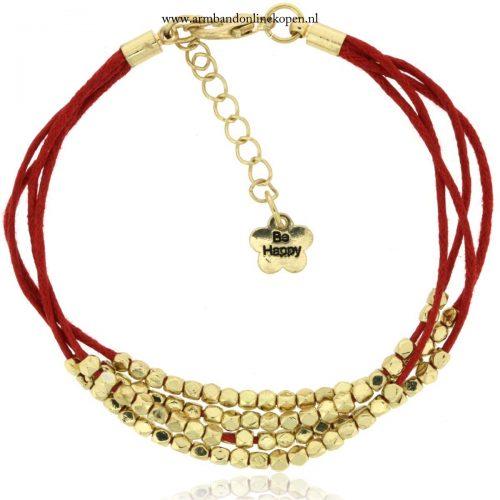 armbandje rood goud kraaltjes