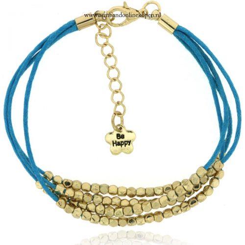armbandje turquoise goud kraaltjes