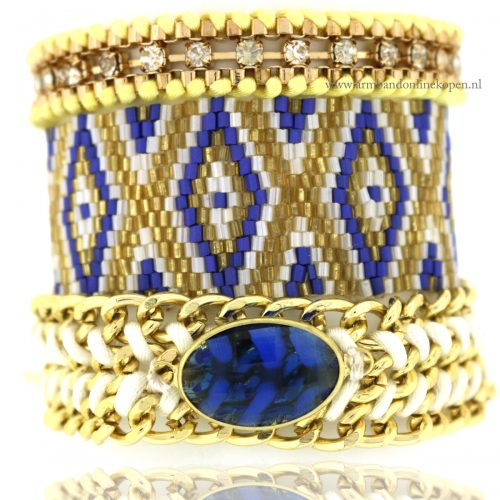 armbandjes set miyuki kraaltjes royal blauw steen