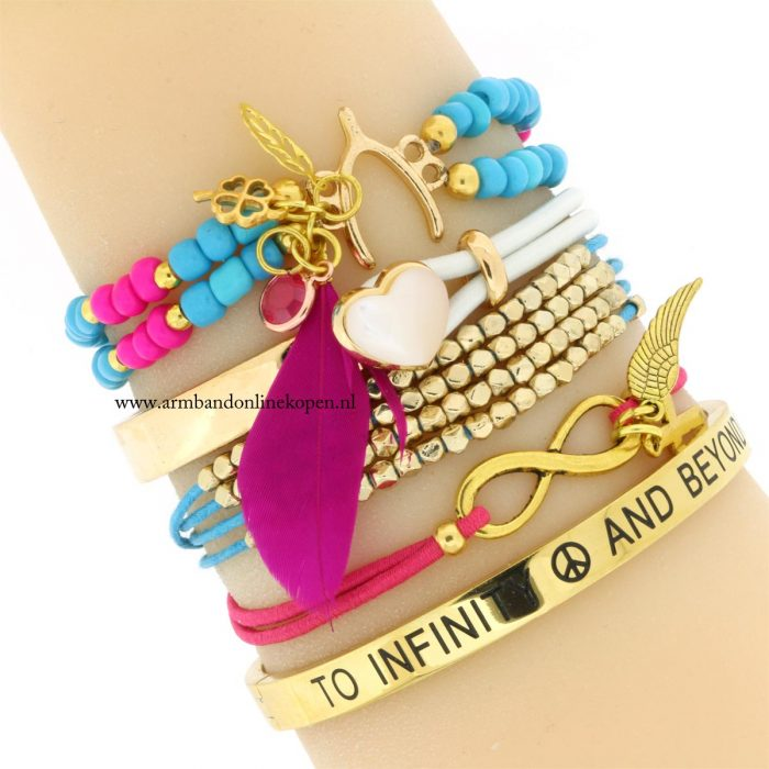 armbandjes turquoise goud kraaltjes