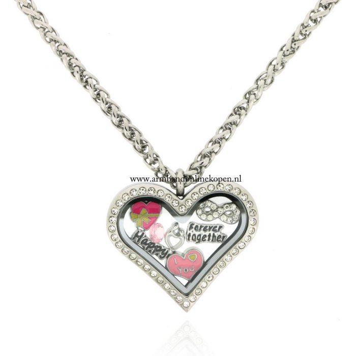 hart hanger strass steentjes forever together
