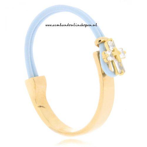 mix en match RVS armband I Believe baby blue