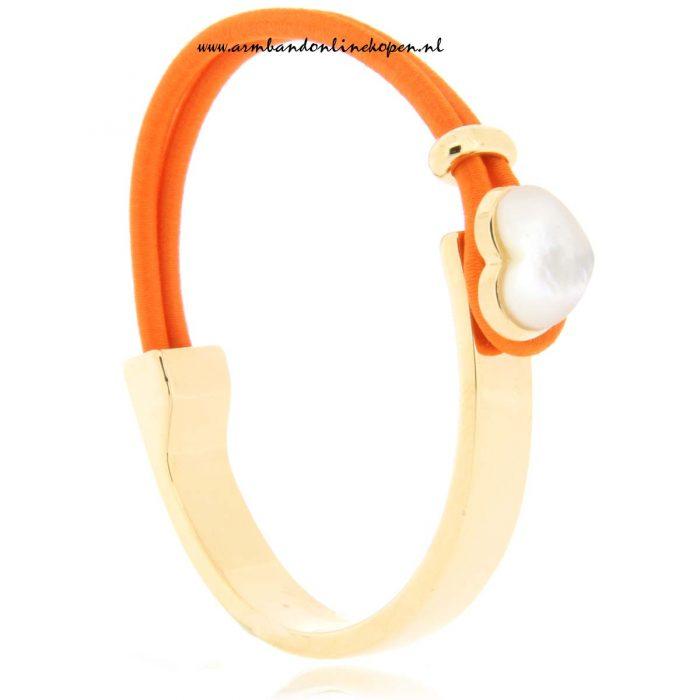 mix en match RVS armband Seashell in love oranje