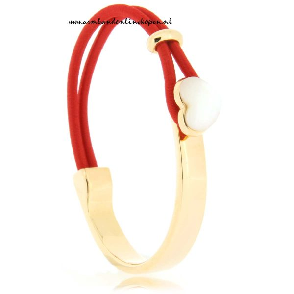 mix en match RVS armband Seashell in love rood