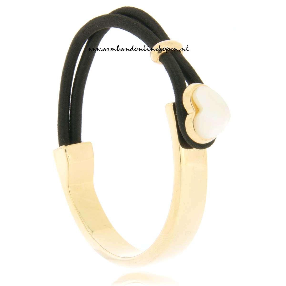 mix en match RVS armband Seashell in love zwart