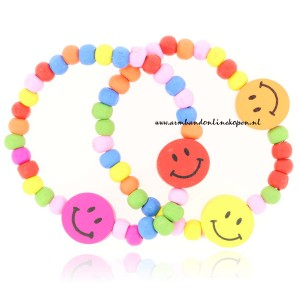 set kinder armbanden smileys