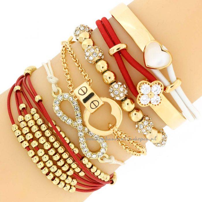 armbandjes rode koord goud kralen