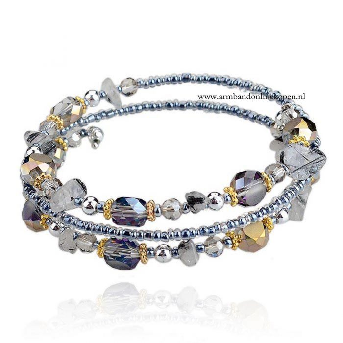 bangle armband miyuki kralen grijs natuursteentjes