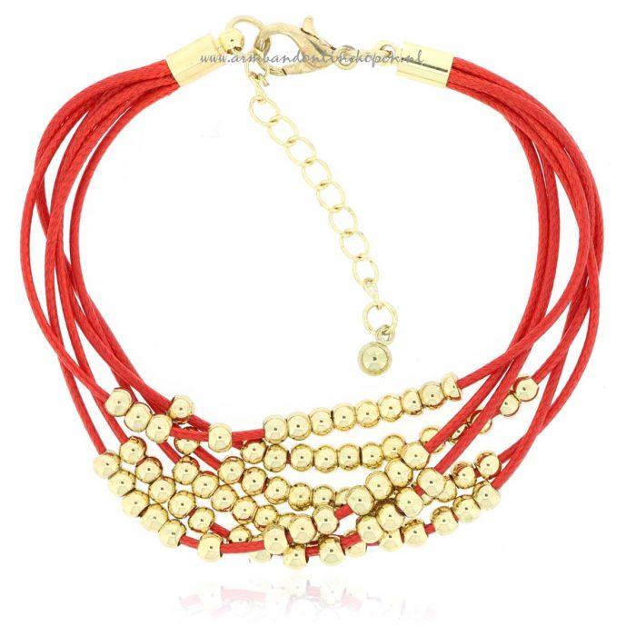 mix en match armbandje gold beads rood