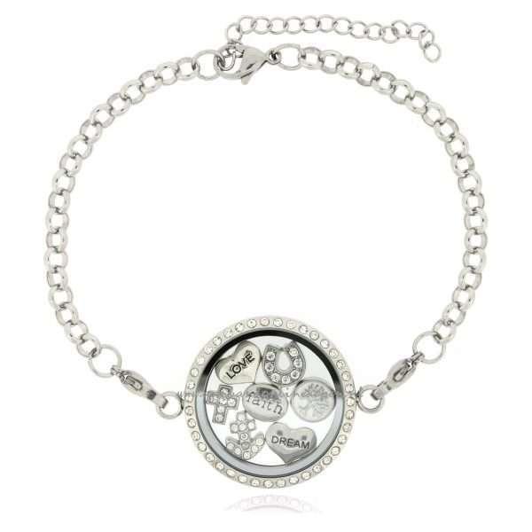 zirkonia steentjes armband met munt en bedels