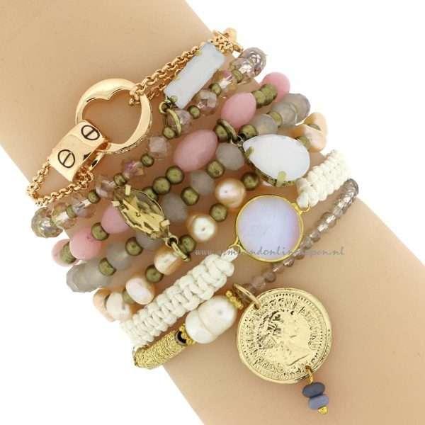 mix en match armbanden gold gem opalite