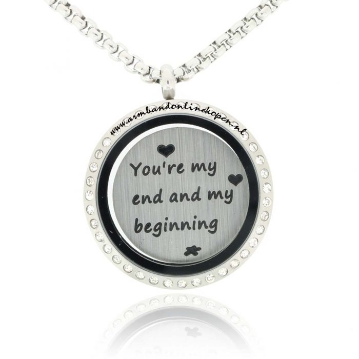 muntketting met zirkonia steen en munt you are my end and my beginning