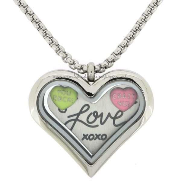 Muntketting jasseron schakels met munt hanger hart vorm en love munt