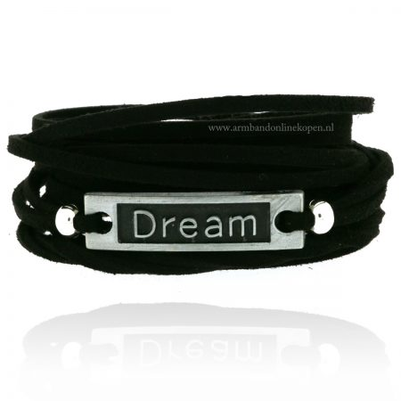 Wikkel Armband Dream zilver zwart