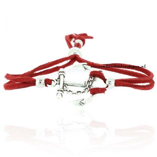 hippe armbandje 2015 anker zilver rood