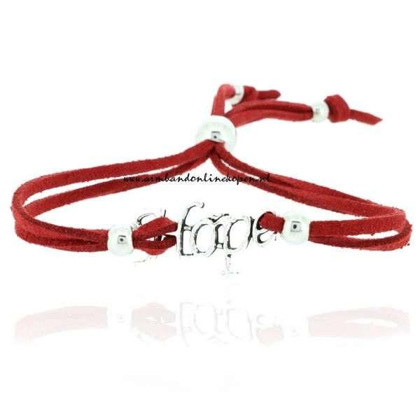 hippe armbandje 2015 hope zilver rood