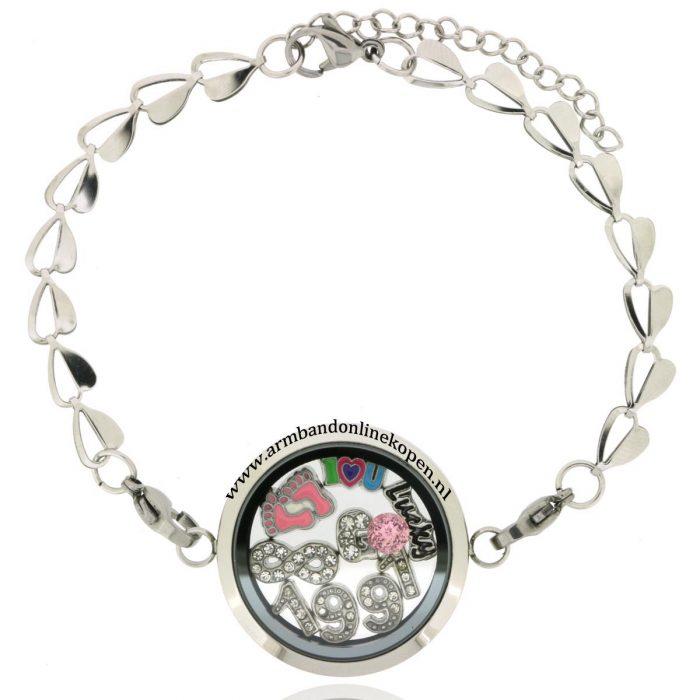 munt armband met steen roze quartz de kleur van 2016