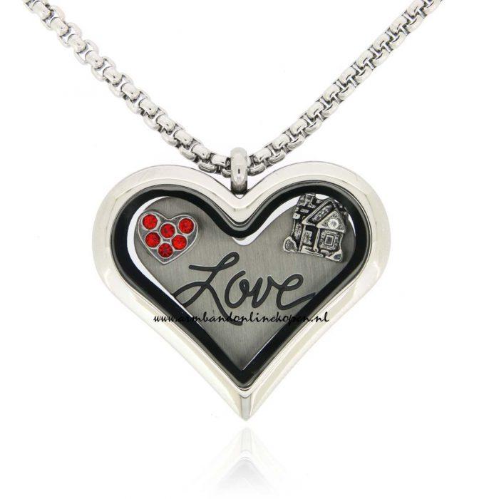 muntketting met munt en bedels love is where the heart is