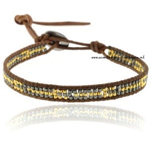 single leer wrap armband gold beads
