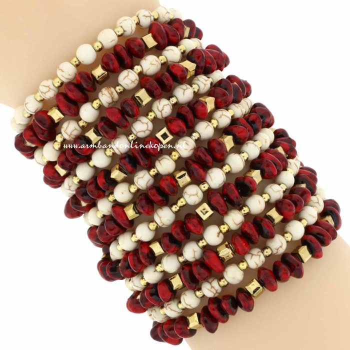 statement armband burgundy creme