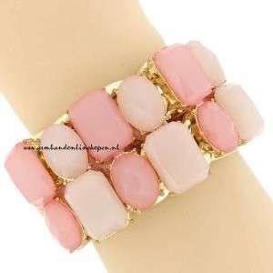 statement armband zacht roze