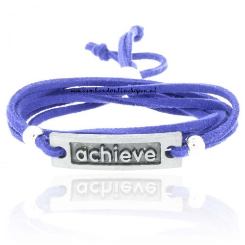 wikkel armband achieve blauw suede