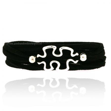 autisme armband zilver zwart