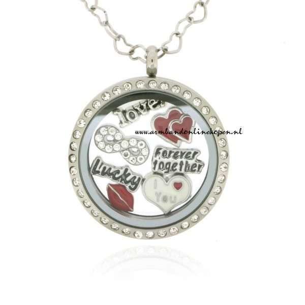 munt hanger met bedels valentijn collectie