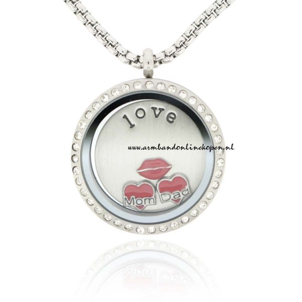 munt ketting love my mom and dad