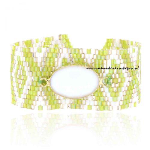 hippe miyuki armband met witte steen