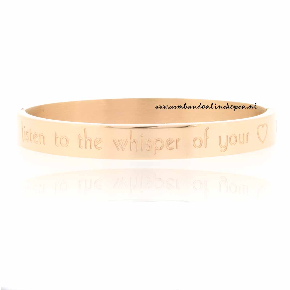 listen to the whisper of your heart rvs armband goud rose