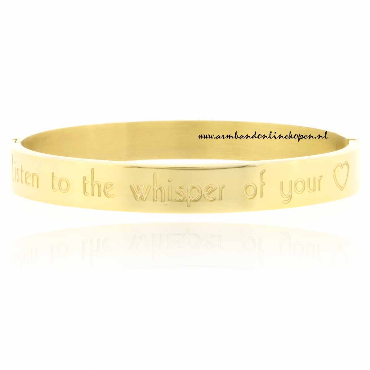 listen to the whisper of your heart rvs armband goud