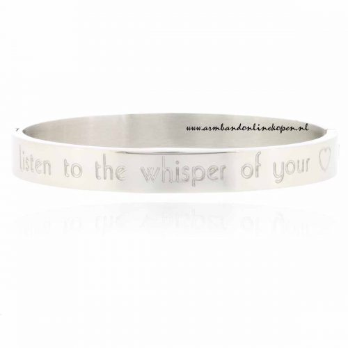 listen to the whisper of your heart rvs armband zilver