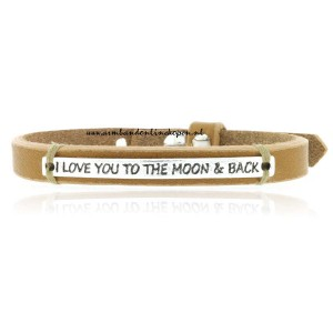 I love you to the moon and back Leer Armband